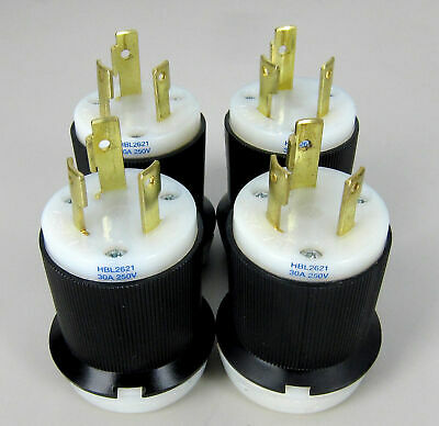 Lot of 4 Industrial Hubbell Twist-Lock 3 Pole Male Plug Model# HBL 2621 30A 250V