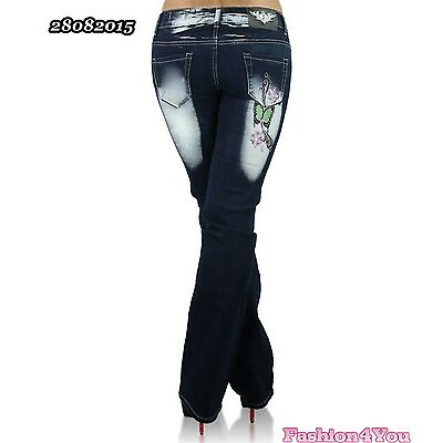 Womens Bootcut Jeans Tattoo Crazy Age Trousers Big Plus Size 14,16,18,20,22 UK