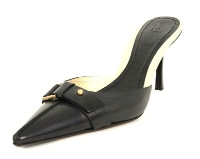 1c44dc2e0e8 GUCCI Black Grained Leather Pointed Toe Buckle Vamp Strap Heels Mules 8 |  eBay