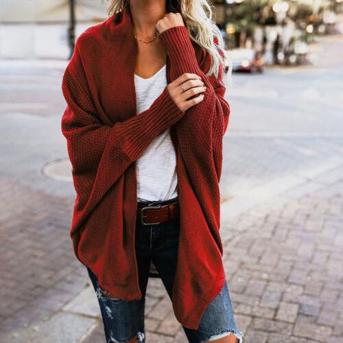 Women Winter Batwing Sleeve Sweater Knitted Loose Overcoat Wrap Cardigan Blouse