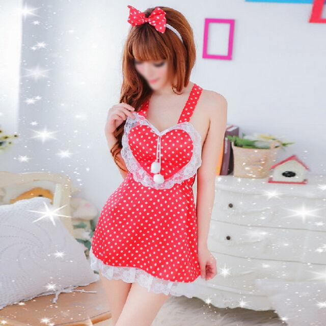 Women Sexy Lingerie Cute Maids Apron Cross-belt Backless Night Sleepwear Red
