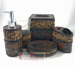 Western Flowery Bathroom Accessory Set 5 Pieces Rustic Leather Look Studs Horses Ebay