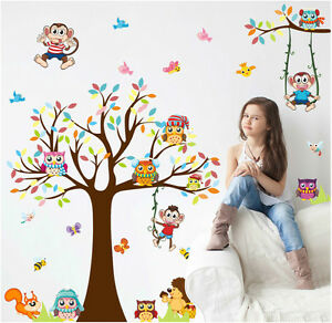 Details zu Wandtattoo Kinderzimmer Eule Affe Igel Schmetterling Aufkleber  Baum Baby Stick