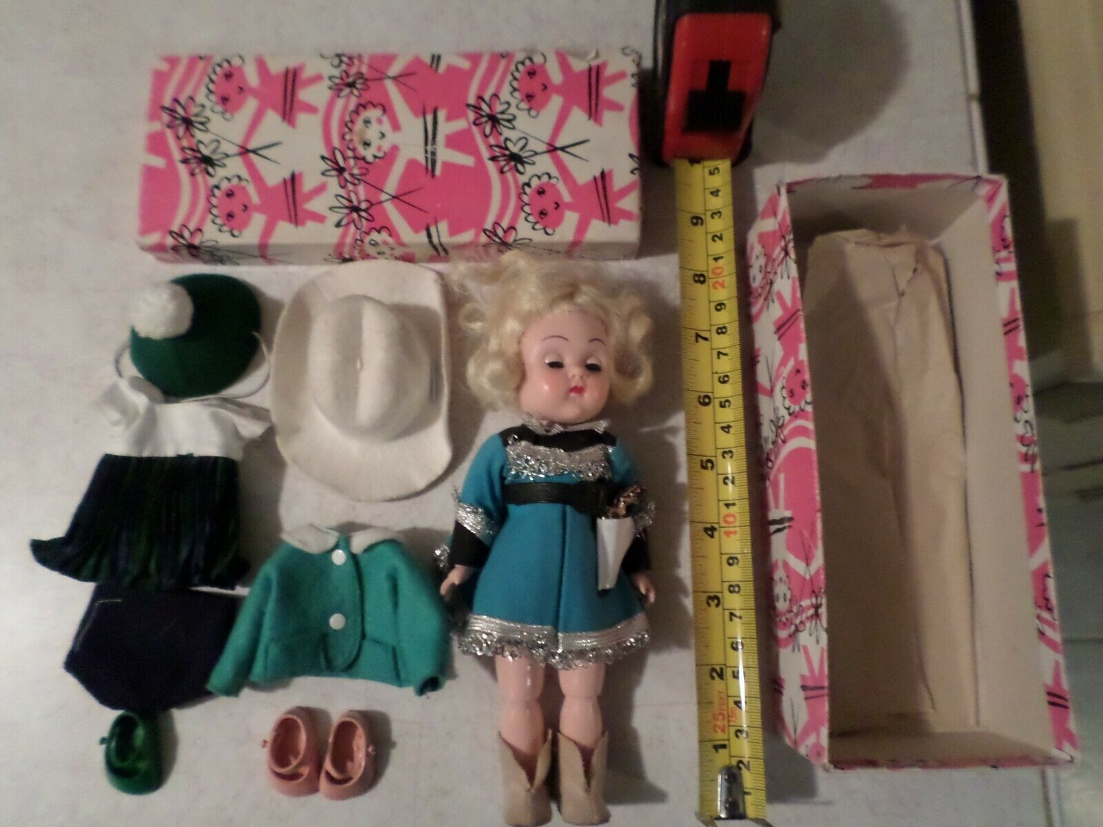 Vintage 1957-62 Vogue Ginny Doll (BKW) With Box,Cowgirl & Extra Outfit