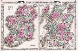 MAP-ANTIQUE-1866-JOHNSON-SCOTLAND-IRELAND-OLD-LARGE-REPLICA-POSTER-PRINT-PAM0343