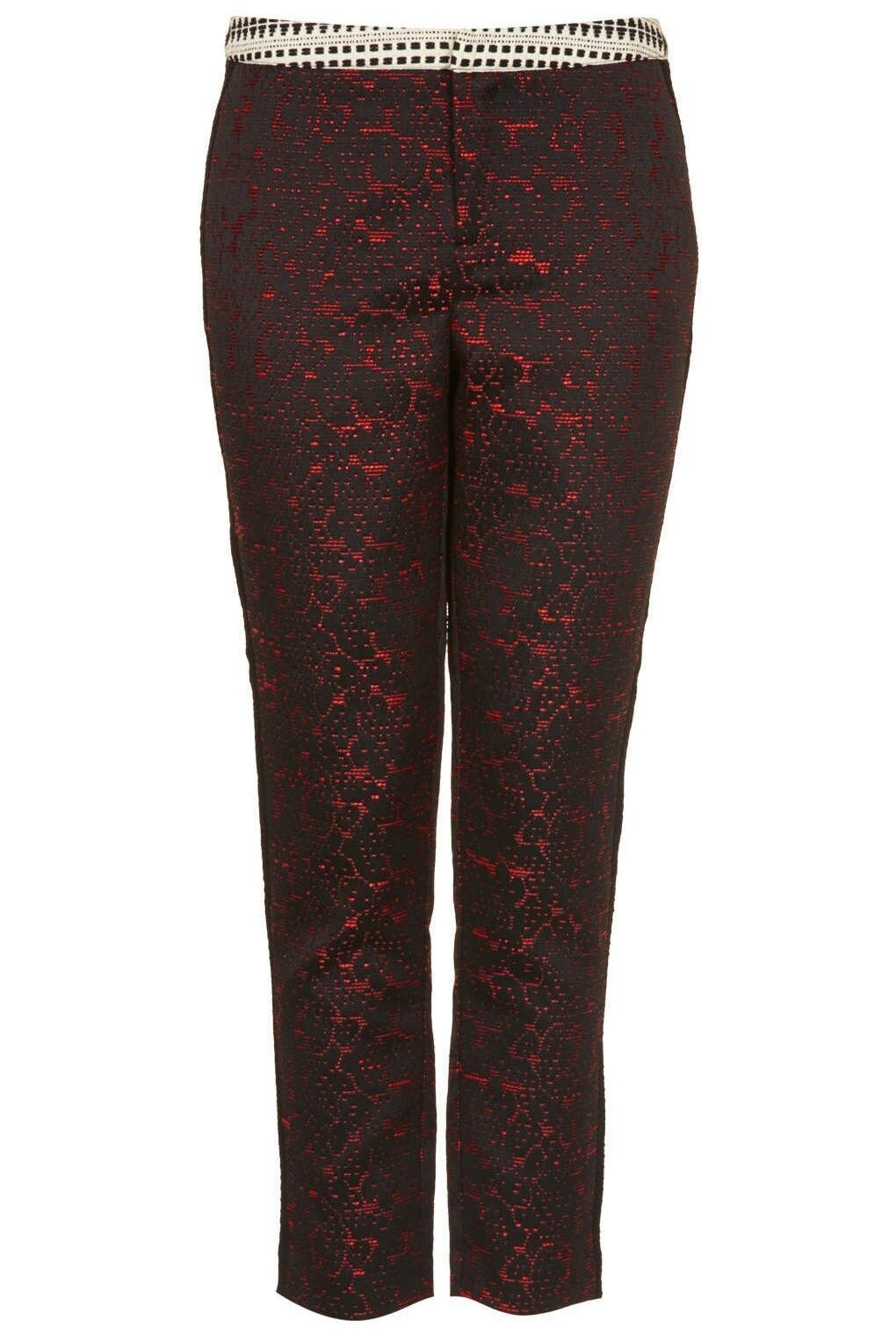 Topshop Jacquard Cigarette Trousers SIZE UK10 EUR38 US6 TALL RRP