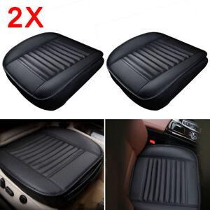 2X-Universal-Schwarz-Auto-Sitzauflage-Sitzkissen-Sitzmatte-PU-Leder-Sitzbezuege