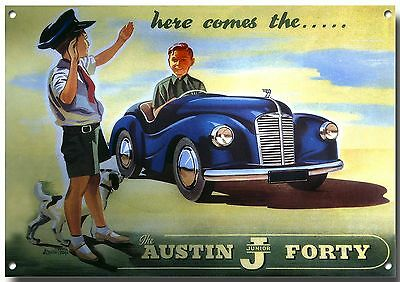 AUSTIN A90 AUTHORIZED OWNER METAL SIGN.CLASSIC BRITISH CARS.