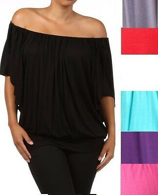 NEW WOMEN PLUS SIZE OFF THE SHOULDER TOP Sexy Ruched Solid Sleeve 1X 2X 3X