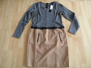 SET-tolles-Jerseykleid-2-in-1-Optik-grau-beige-Gr-40-o-42-NEU
