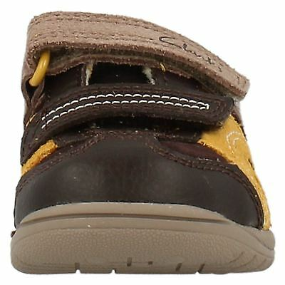 Boys SALE Clarks Ru Rocks Fst Brown Yellow Combi Leathers First Shoes