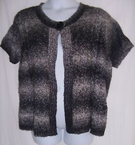 df248598401 Dressbarn Plus Size 18 20 Black   Gray Fuzzy Short Sleeve Cardigan ...