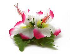 Hawaii Hair Clip Lei Party Luau Flower Dance Beach Photo Hibiscus Hot Pink Line