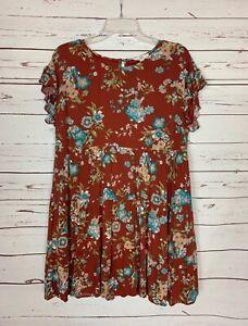 ENTRO-Boutique-Women-039-s-L-Large-Floral-Short-Sleeve-Fall-Tunic-Top-Blouse-Shirt