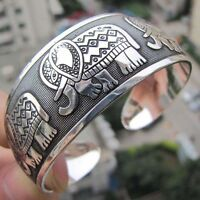 Beauty Elephant Tibetan Tibet Silver Totem Bangle Cuff Bracelet