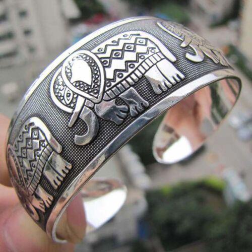 Fashion Elephant Tibetan Tibet Silver Totem Bangle Cuff Bracelet Gift RDR