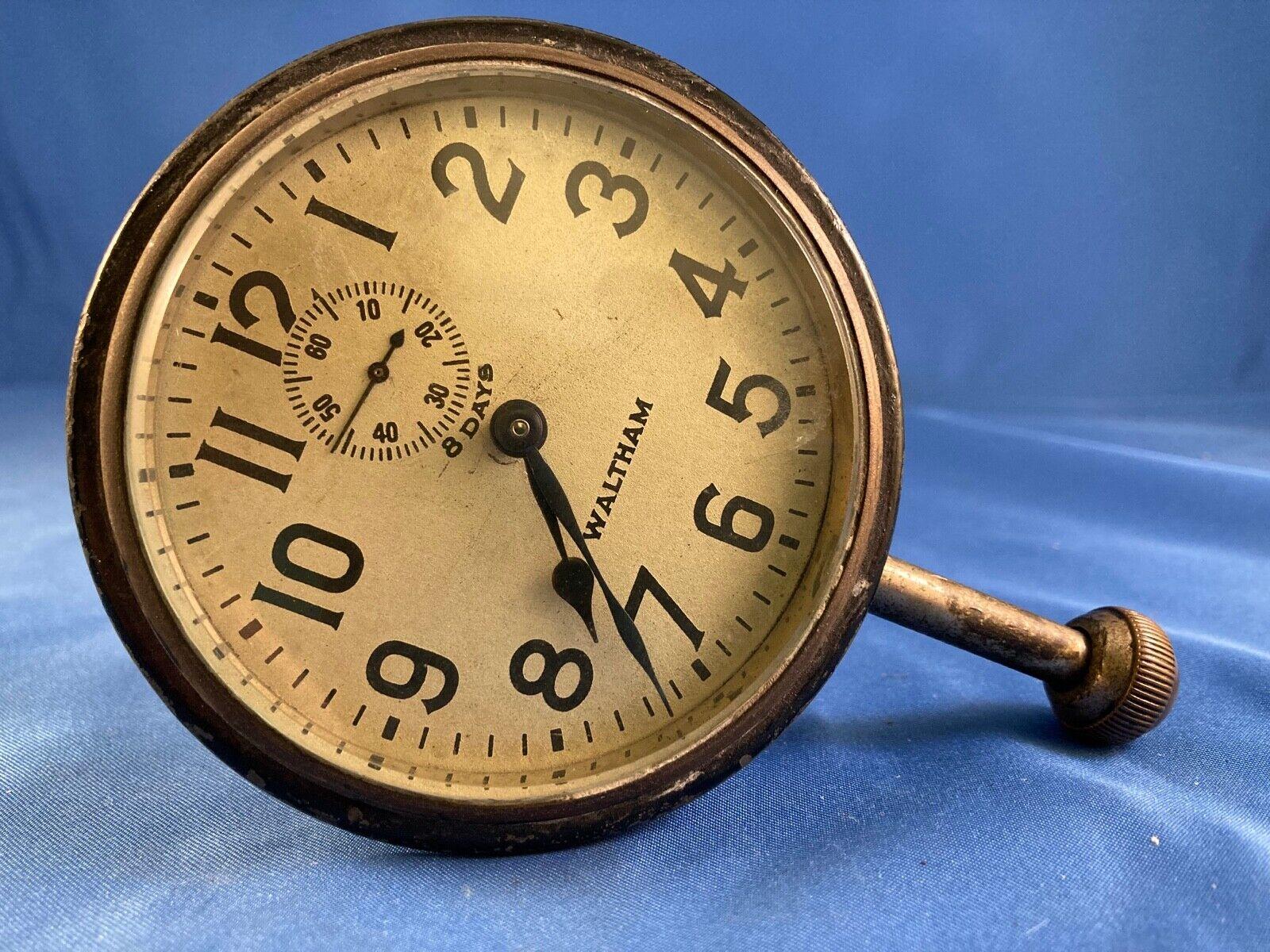 Image 1 - Vintage-Antique-8-days-Car-Automobile-Wind-Up-Stem-Dash-Clock-Waltham