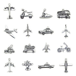 Lot-of-16-Mixed-Silver-Metal-Bus-Car-Ship-Pendants-Charms-DIY-Jewelry-Findings