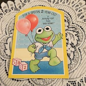 Vintage greeting card 2nd birthday kermit the frog balloons ebay image is loading vintage greeting card 2nd birthday kermit the frog m4hsunfo