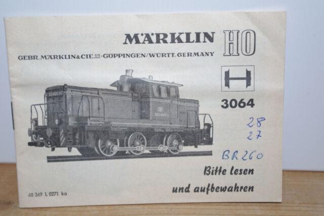 Märklin Anleitung  für 3064  Diesellok V60 DB  von 1971