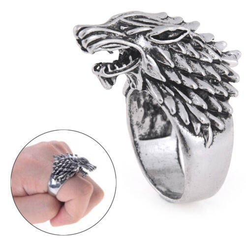 Classic Vintage Winter Is Coming Wolf Head Rings Men Jewelry Accessories HU
