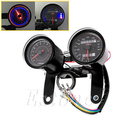 New Universal Motorcycle Odometer & Tachometer Speedometer Gauge + Bracket Kit