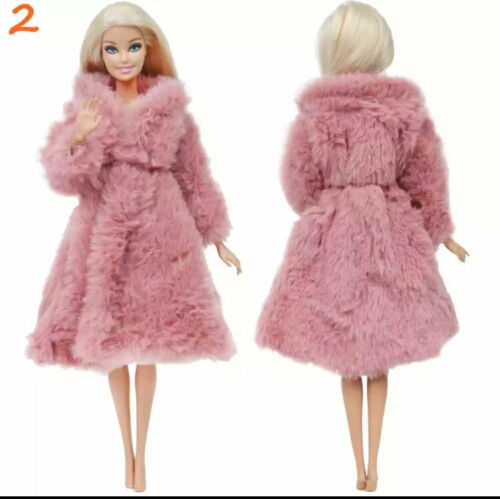 Multi color Long Sleeve Soft Fur Coat Tops Dress Winter Clothes for Barbi doll