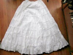 Anthropology-Dallin-Chase-Long-White-Peasant-Skirt-Cotton-Ladder-Lace-Voile-LG