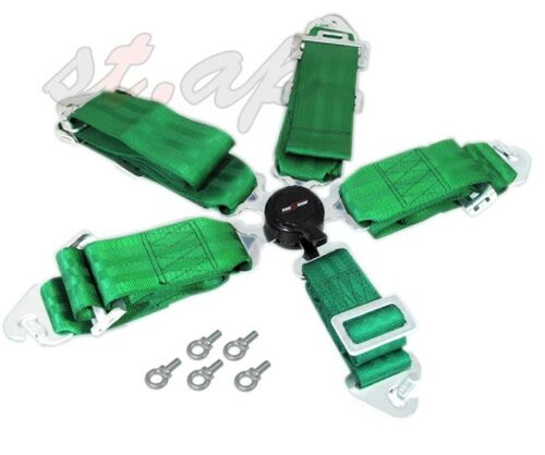 "Godsnow Jdm 5-Point 3/"" Cam Lock Camlock Racing Seatbelt Seat Belt Harness Green"