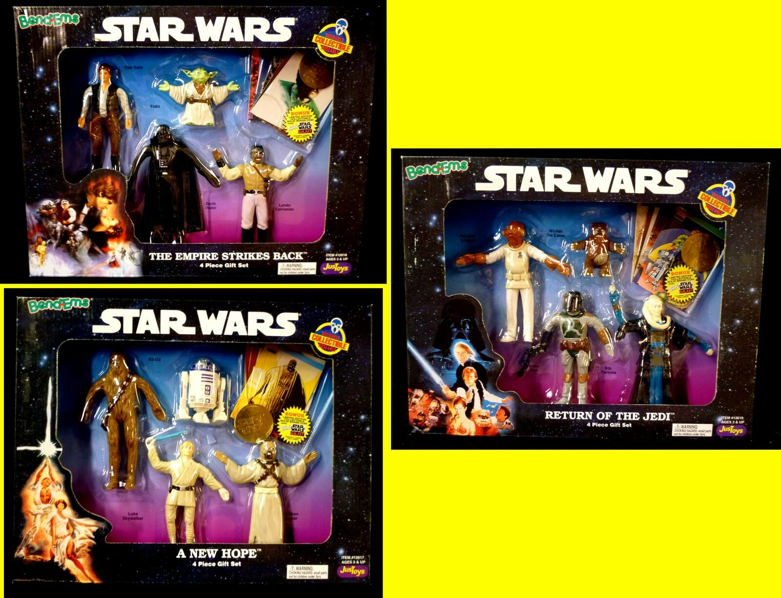 Just Toys Bend-ems Star Wars Trilogy 3 Gift Sets with Coin 1994 Boba Fett Vader
