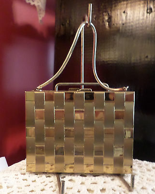 Vintage or Antique Minaudière Purse Powder Compact Lipstick Comb Chain Handle