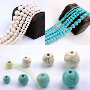 Lots-Howlite-Turquoise-Gemstone-Round-Loose-Stone-Beads-Finding-4-6-8-10-mm