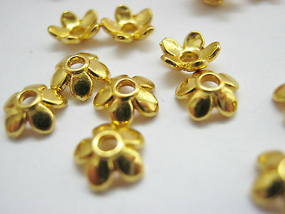 50 Gold Bead Caps Flower Petal  6mm Bead Ends Jewellery Making Findings 1//4/""