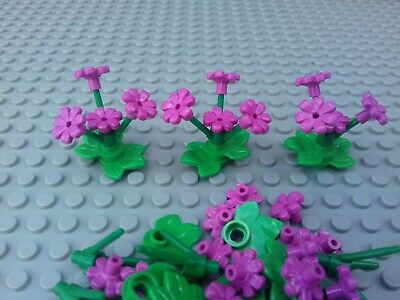 10 x DARK PINK BUNCHES OF FLOWERS WITH STEMS /& LEAVES FRIENDS CITY NEW LEGO