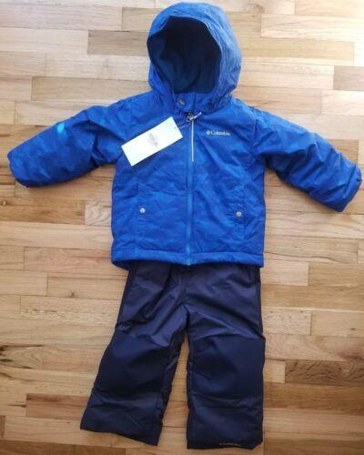 NWT COLUMBIA BOYS FROSTY SLOPE SNOW SET BLUE GEO PRINT SNOWSUIT 3T NEW!