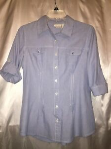 5e1e76b2a85145 Kim Rogers Tops Fitted Nautical Blouse Blue/White Pinstripe Size ...