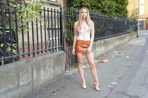 High Waist Mini Skirt Zipped Short Party Women/'s Girls Ladies PVC Rubber  024