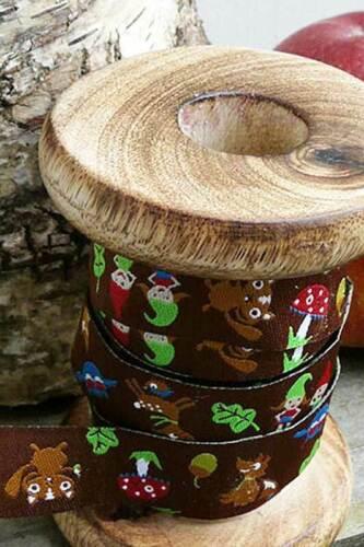 1m webband waldzwergenpost webband cenefa farbenmix 15mm de bosque enanos hongos