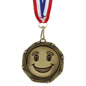 Geocaching-Smiley-Combo-medaille-Antique-Gold-Libre-Ruban-amp-Free-p-amp-p-AM1147-12
