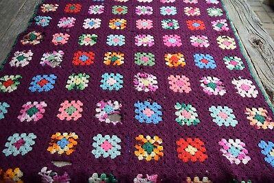Vintage Handmade Crochet Granny Square Patchwork Afghan/Throw FIXER