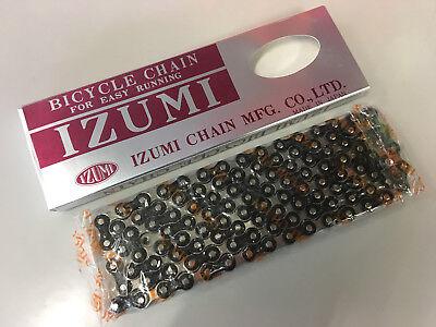 Silver IZUMI Jet Black 1//2x3//32x116L Bicycle Chain