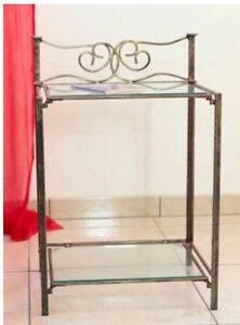 COMODINO FERRO BATTUTO CLASSIC con vetro mm5 46 x 37 x 67H casa ...