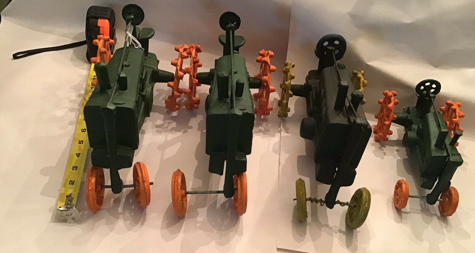Retro Vintage Raro Lote De 4 John Deere tractores de hierro fundido