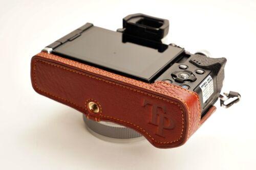 Caso de cámara de Cuero Genuino Real Medio Bolso Cubierta para Olympus OMD EM5 M2 Marrón II