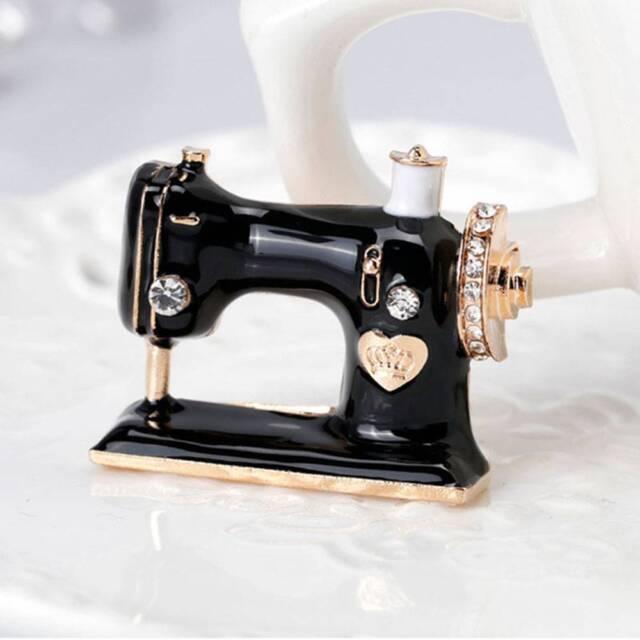 Fashion Black Sewing Machine Brooch Women Pin Brooches Enamel Pins Gift Jewelry