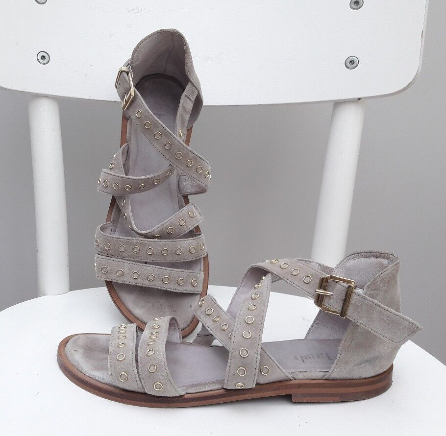 Hush grey suede sandal shoe strappy Greek gladiator 6 39 boho