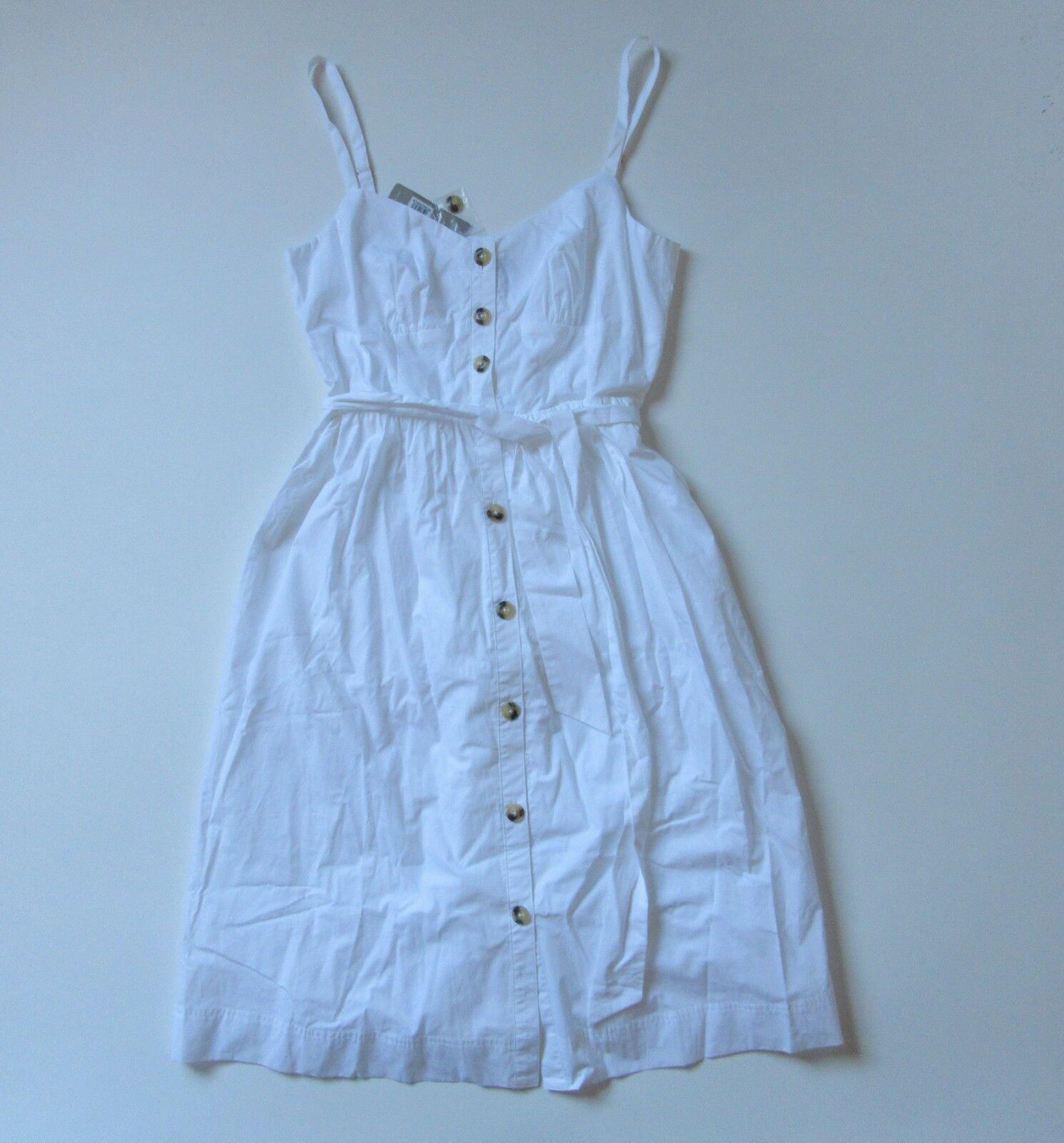 NWT J.Crew Classic Button-Front Sundress in Weiß Cotton Poplin Shirt Dress 10
