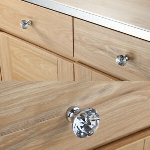 Diamond Crystal Chrome Drawer Pull Handles Cupboard Door Knob Cabinet Wardrobe V