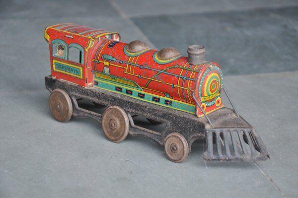 Rara Vintage preguerra kikwnsha Litografía locomotora de juguete de estaño, Japón