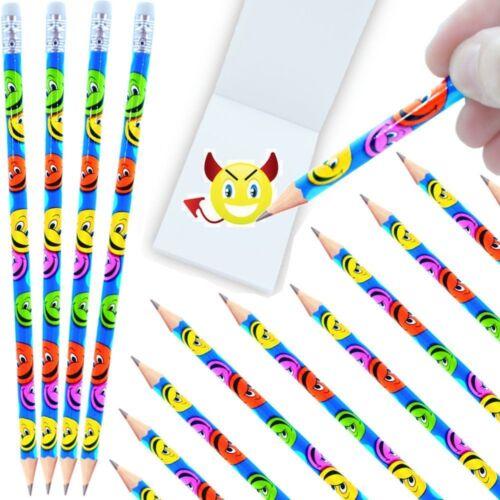 12 x Happy Face Bleistifte mit Radierer German Trendseller® Party